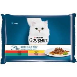 Hrana umeda pentru pisici GOURMET PERLE, Vita si pui, Iepure si somon, 4 x 85 g