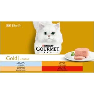 Hrana umeda pentru pisici GOURMET GOLD Mousse, Vita si curcan, Ficat si ton, 4 x 85 g