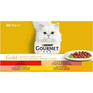 Hrana umeda pentru pisici GOURMET GOLD, Vita si curcan, Rata si somon, Pui si ficat, 4 x 85 g