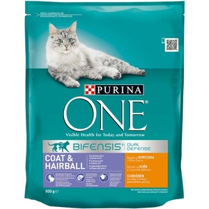 Hrana uscata pentru pisici PURINA ONE Coat & Hairball, Pui, 800 g