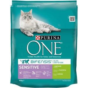 Hrana uscata pentru pisici PURINA ONE Sensitive, Curcan si orez, 800 g