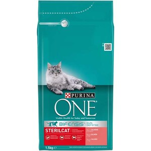 Hrana uscata pentru pisici PURINA ONE Sterilcat, Somon si grau, 1.5 kg
