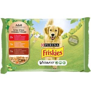 Hrana umeda pentru caini FRISKIES Adult, Vita si Cartofi, Pui si Morcovi, Miel si Morcovi in Sos, 4 x 100 g
