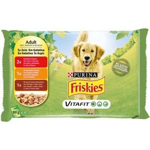 Hrana umeda pentru caini FRISKIES Adult, Vita si Morcovi, Pui si Mazare, Miel si Fasole Verde in Aspic, 4 x 100 g