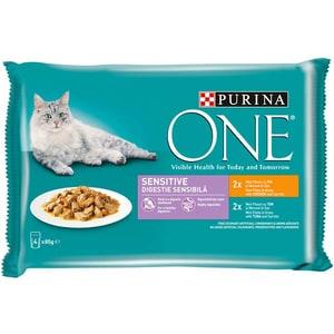 Hrana umeda pentru pisici PURINA ONE Sensitive, Pui si ton, 4 x 85 g
