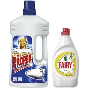 Pachet detergent universal MR. PROPER, 1l + Detergent de vase FAIRY Lemon, 450ml