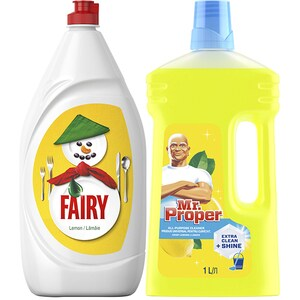 Pachet detergent de vase FAIRY Lemon, 1.3l + MR.PROPER Lemon, 1l