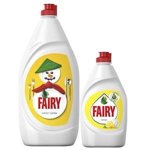 Pachet detergent de vase FAIRY Lemon, 1.3l + FAIRY Lemon, 450ml
