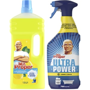 Pachet detergent universal pentru suprafete MR. PROPER Lemon, 1.5L + Detergent universal MR. PROPER Ultra Power Spray Lemon, 750ml