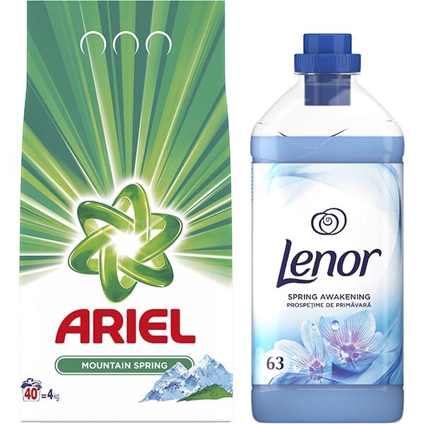 Pachet detergent pudra ARIEL Mountain Spring 4kg, 40 spalari + Balsam de rufe LENOR Spring, 63 spalari
