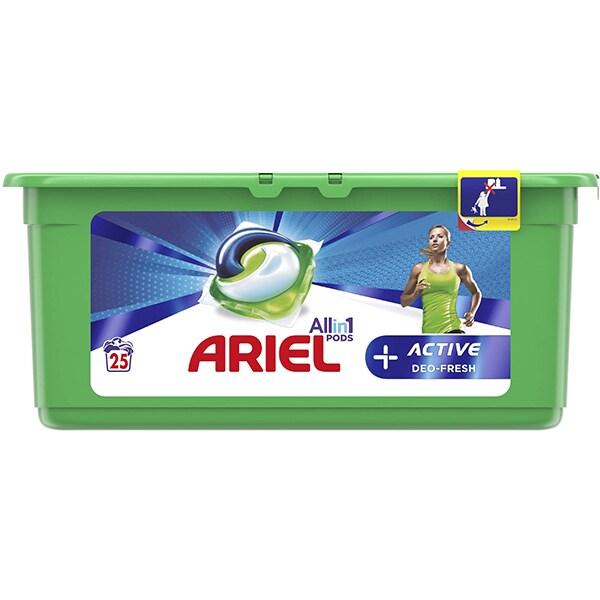 Detergent capsule ARIEL All in One PODS Plus Active, 25 spalari