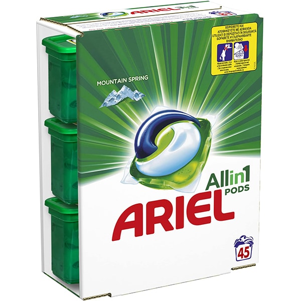 Detergent capsule ARIEL All in One PODS Mountain Spring, 45 spalari