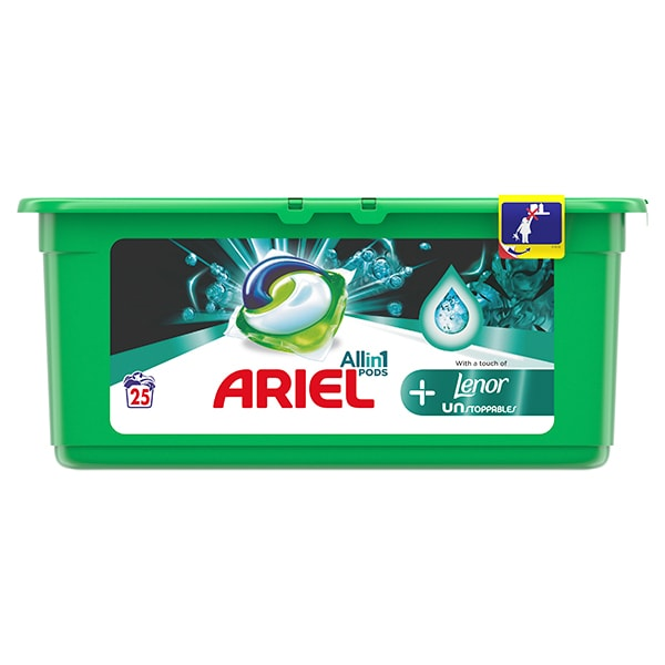 Detergent capsule ARIEL All in One PODS Plus Unstoppables, 25 spalari