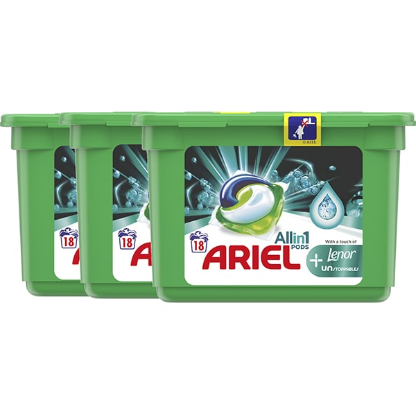 Detergent capsule ARIEL All in One PODS Plus Unstoppables, 54 spalari