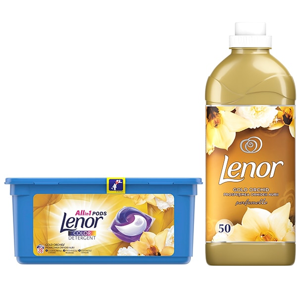 Pachet detergent capsule LENOR All in One PODs Gold Orchid, 28 spalari + Balsam de rufe LENOR Gold Orchid 1.5l, 50 spalari