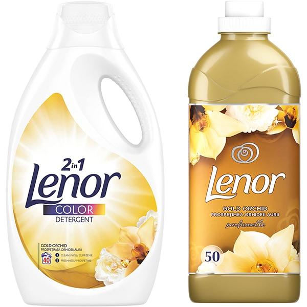 Pachet detergent lichid LENOR Gold Orchid, 40 spalari + Balsam de rufe LENOR Gold Orchid 1.5l, 50 spalari