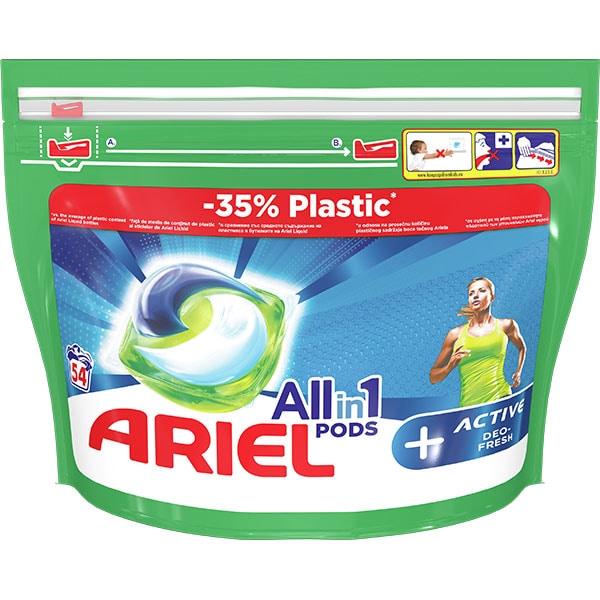 Detergent capsule ARIEL All in One Pods Plus Active, 54 spalari
