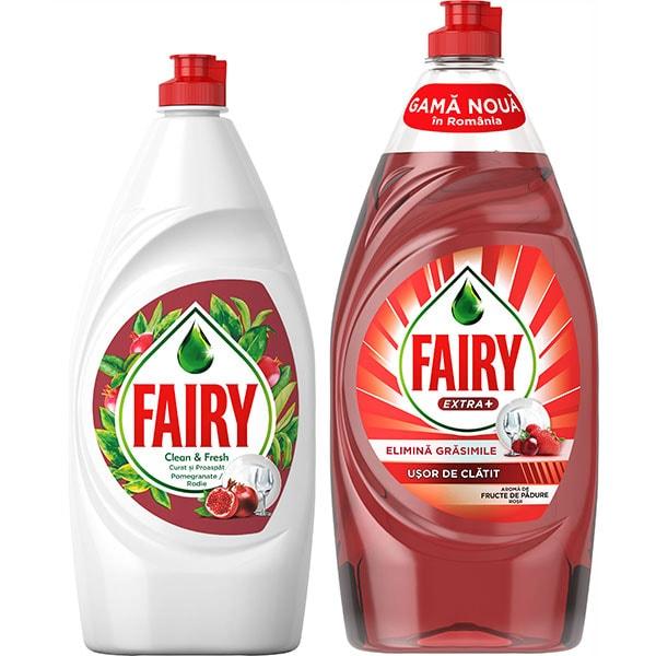 Pachet Detergent de vase FAIRY Pomegranate, 800 ml + Detergent de vase FAIRY Extra+ Fructe de padure 900 ml