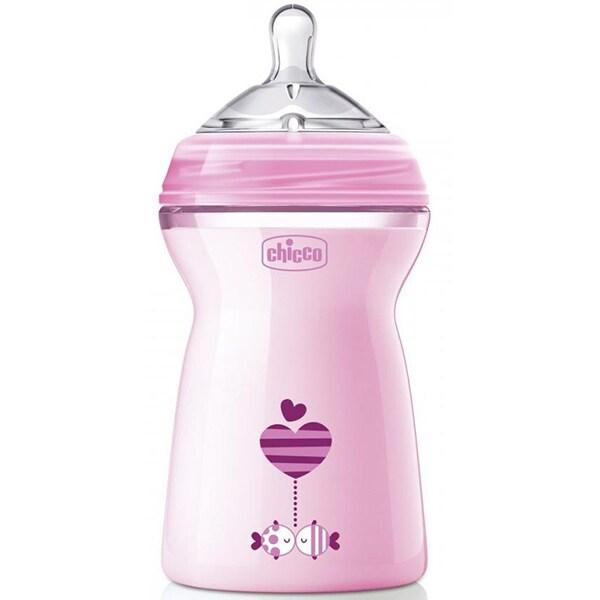 Biberon CHICCO Natural Feeling PureGlass, flux rapid, 6 luni +, 330ml, roz