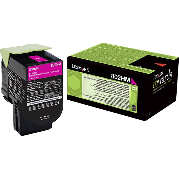 Toner original LEXMARK XL 80C2HM0 802HM Return Program, magenta