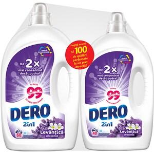 Pachet detergent lichid DERO 2in1 Lavanda, 3 l, 60 spalari + detergent lichid DERO 2in1 Lavanda, 2 l, 40 spalari