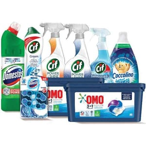 Pachet detergenti pentru curatenia casei OMO + COCCOLINO + CIF + DOMESTOS, 9 bucati + ursulet cadou