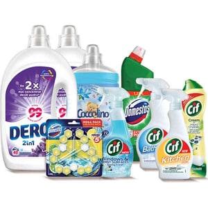 Pachet detergenti pentru curatenia casei DERO + COCCOLINO + DOMESTOS + CIF, 9 bucati + ursulet cadou