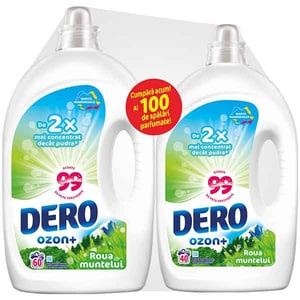 Pachet detergent lichid DERO Ozon+ Auto Roua Muntelui, 3 l, 60 spalari + detergent lichid DERO Ozon+ Auto Roua Muntelui, 2 l, 40 spalari