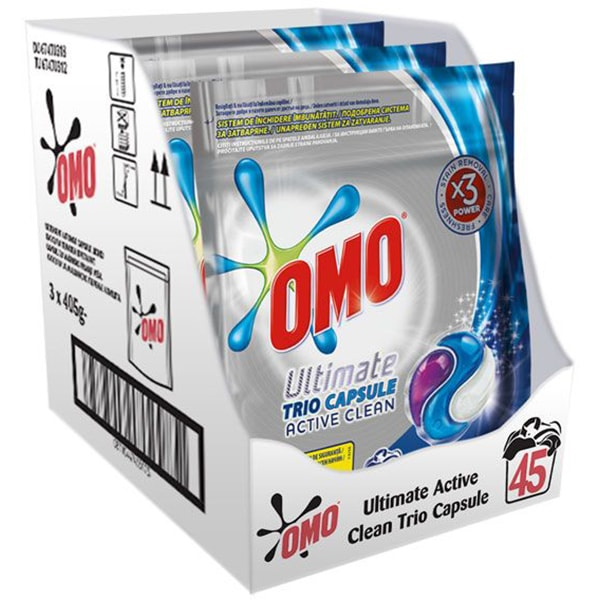 Detergent capsule OMO Ultimate Active Clean Trio Caps, 45 Spalari