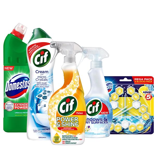 Pachet detergenti pentru curatenia casei CIF + DOMESTOS, 5 bucati