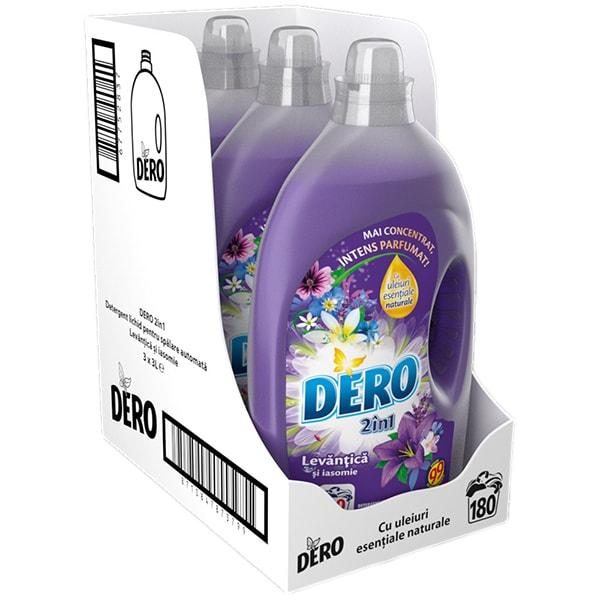 Pachet Detergent lichid DERO 2in1 Lavanda, 3x3l, 180 Spalari