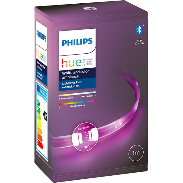 Banda LED PHILIPS HUE LightStrip extensie, Wi-Fi, lumina LED RGB, 11.5W, 950lm, 1m