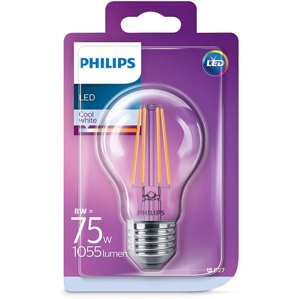 Bec LED PHILIPS FILAMENT A60, 8W (75W), E27, Lumina Rece