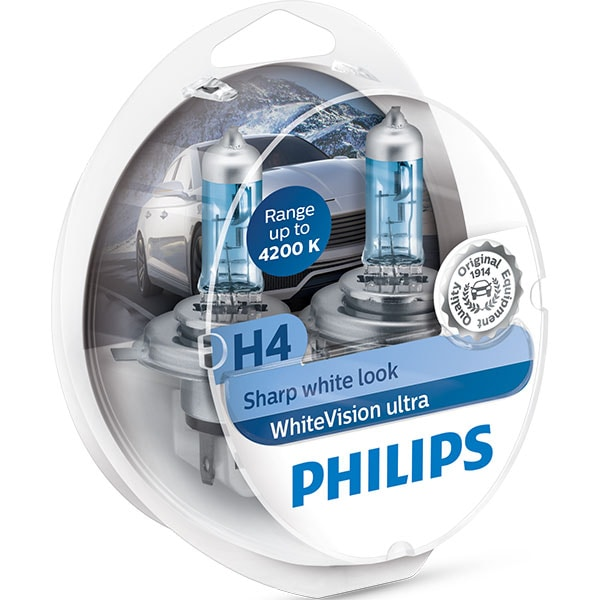 Set becuri auto PHILIPS White Vision Ultra, H4, 4200K, 60/55W, 2 buc