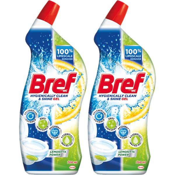 Solutie curatare toaleta BREF WC Gel Lemon, 2 x 700ml