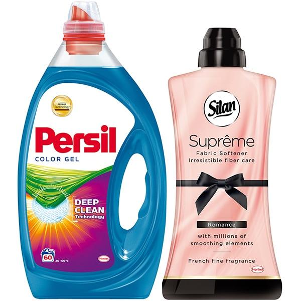 Pachet Detergent lichid PERSIL Gel Color, 3l, 60 spalari + Balsam SILAN Supreme Romance, 1.2l