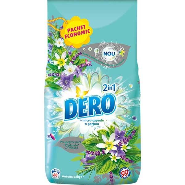 Detergent automat DERO 2 in 1 Iris Alb si Romanita, 8kg, 80 spalari