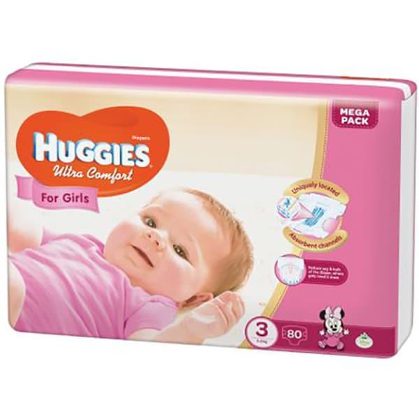 Scutece HUGGIES Ultra Confort nr 3, Fata, 5 - 9 kg, 80 buc