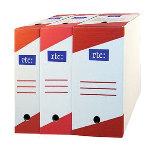 Cutie de arhivare RTC, 330 x 255 x 100 mm, carton, 10 bucati, alb
