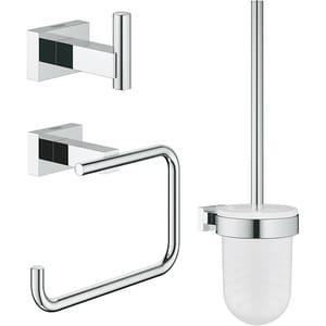 Set accesorii baie GROHE Essentials Cube 3in1 40757001, 3 accesorii, crom