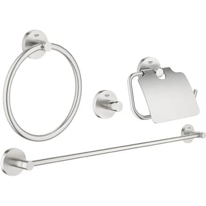 Set accesorii baie GROHE Essentials Master 40776DC1, 4 accesorii, argintiu