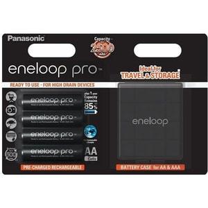 Acumulatori PANASONIC Eneloop Pro LR6/AA, 2500mAh, 4 bucati + cutie depozitare