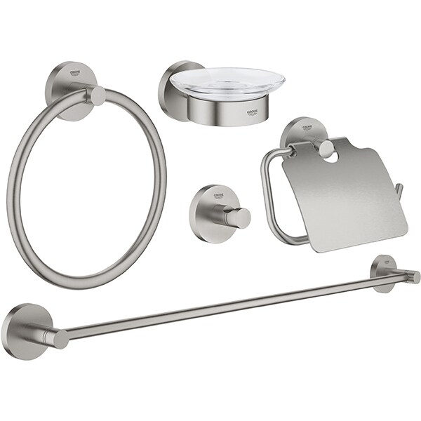 Set accesorii baie GROHE Essentials Master 5in1 40344DC1, 5 accesorii, argintiu