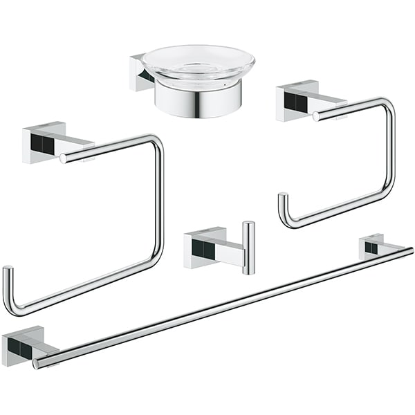 Set accesorii baie GROHE Essentials Cube Master 5in1 40758001, 5 accesorii, crom