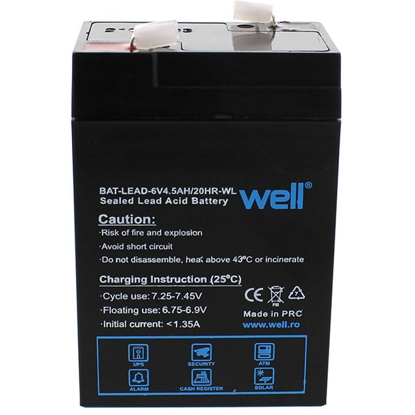 Acumulator plumb acid  WELL BAT-LEAD-6V4.5AH-WL, 6V, 4.5 Ah