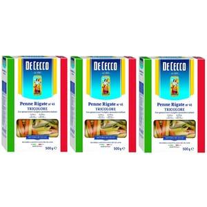 Paste tricolore Penne Rigate DE CECCO, 500g, 3 bucati