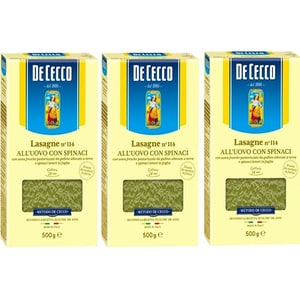Paste Lasagna cu spanac si ou DE CECCO, 500g, 3 bucati