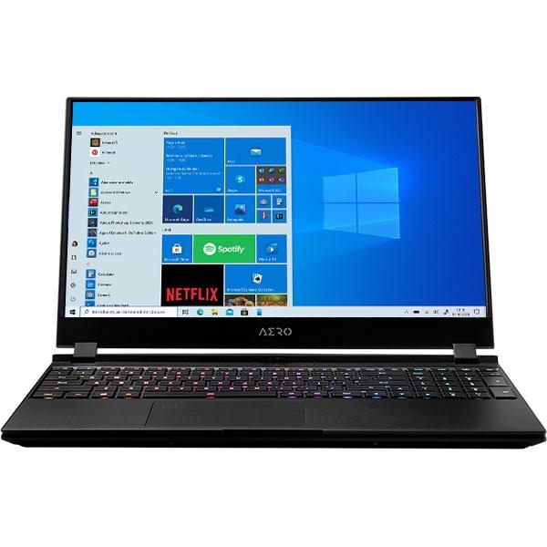 "Laptop GIGABYTE Aero 15 OLED KC, Intel Core i9-10980H pana la 5.3GHz, 15.6"" 4K UHD, 64GB, SSD 2TB, NVIDIA GeForce RTX 3080 8GB, Windows 10 Pro, negru"