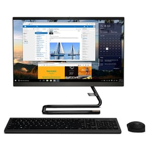 "Sistem PC All in One LENOVO IdeaCentre A340-24ICK, Intel Core i5-9400T pana la 3.4GHz, 23.8"" Full HD, 8GB, 1TB + SSD 128GB, Intel UHD Graphics 630, Free DOS, negru"