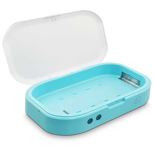 Sterilizator UV SM-01 + Incarcator wireless telefon, albastru/alb